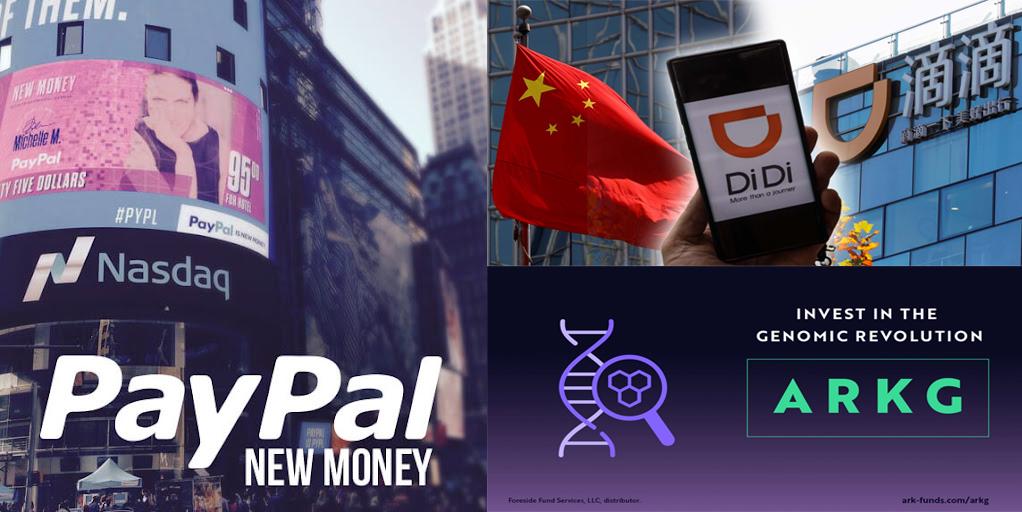 解釋買入美股Paypal(PYPL)及賣出美股滴滴出行(Didi)及ARKG的原因,並分享我的看法。
